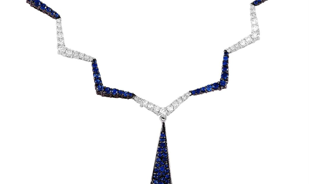 LB Exclusive LB Exclusive 18K White Gold 1.89 ct Diamond and Sapphire Zig Zag Necklace