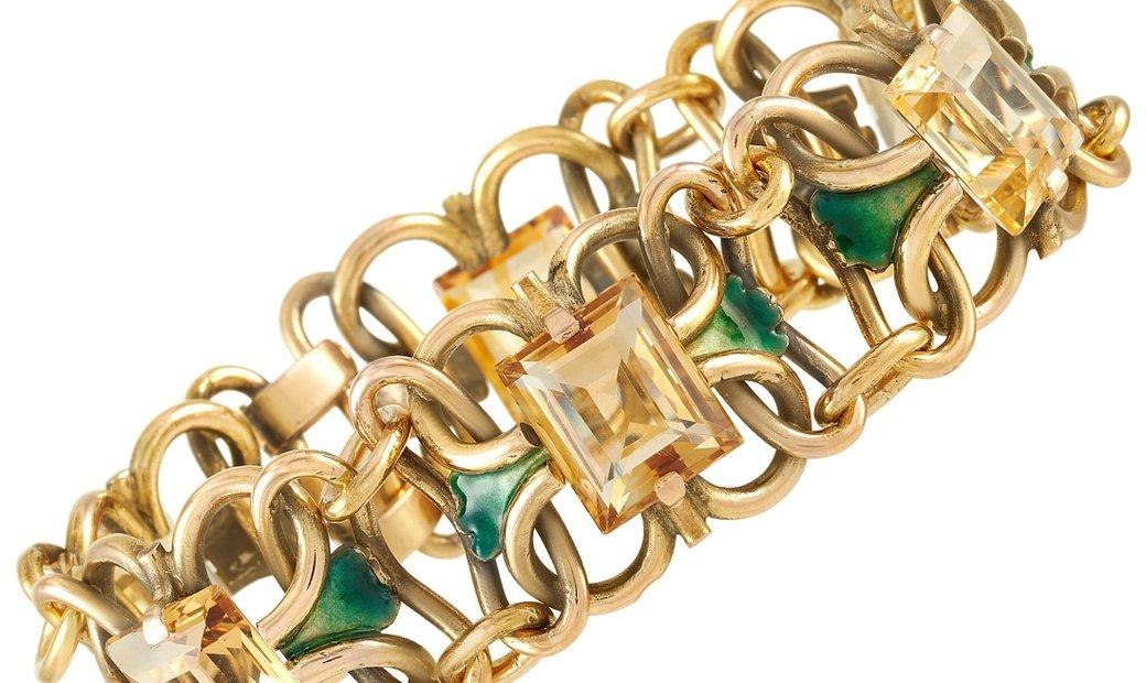 LB Exclusive LB Exclusive 18K Yellow Gold Citrine Enamel Chunky Chain Link Bracelet