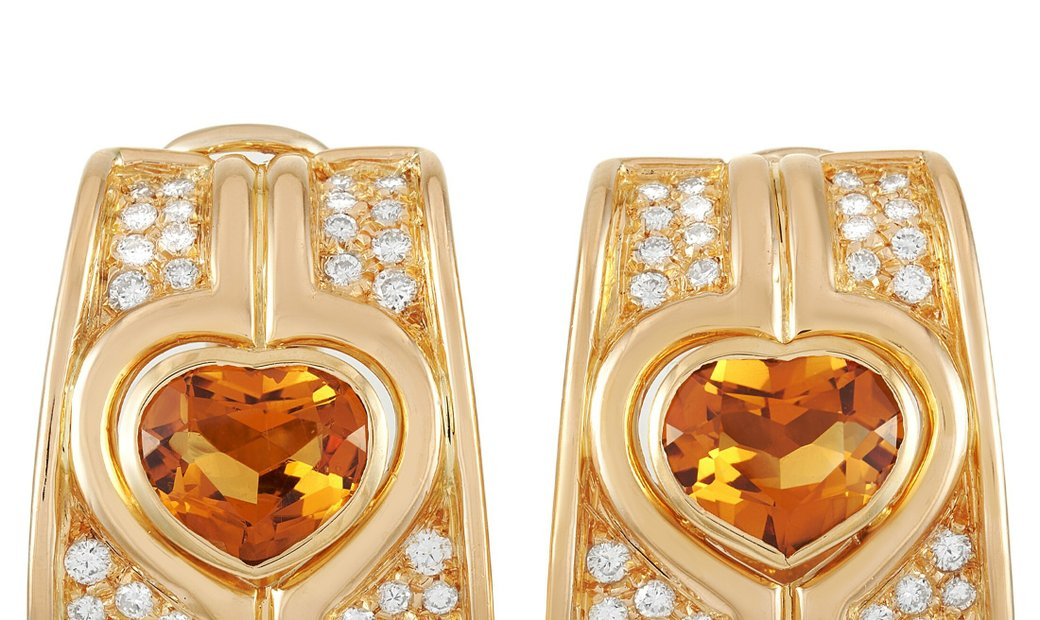 LB Exclusive LB Exclusive 18K Yellow Gold 2.15 ct Diamond and 7.00 ct Citrine Clip-On Earrings