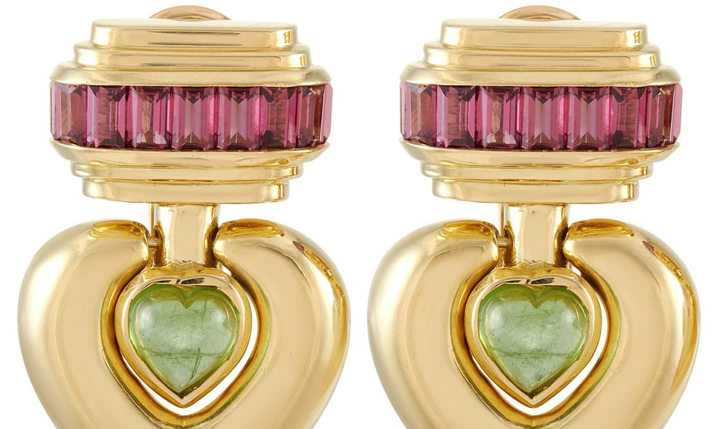 LB Exclusive LB Exclusive 18K Yellow Gold Peridot and Tourmaline Clip-On Earrings