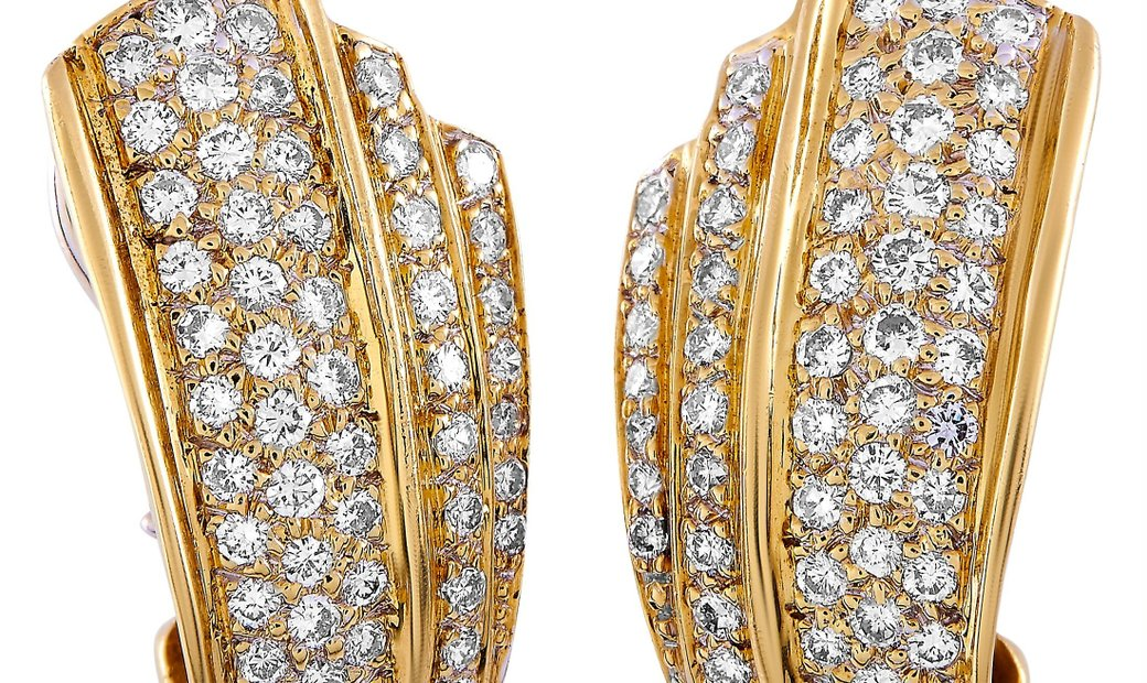 LB Exclusive LB Exclusive 18K Yellow Gold 2.55 ct Diamond Clip-On Earrings