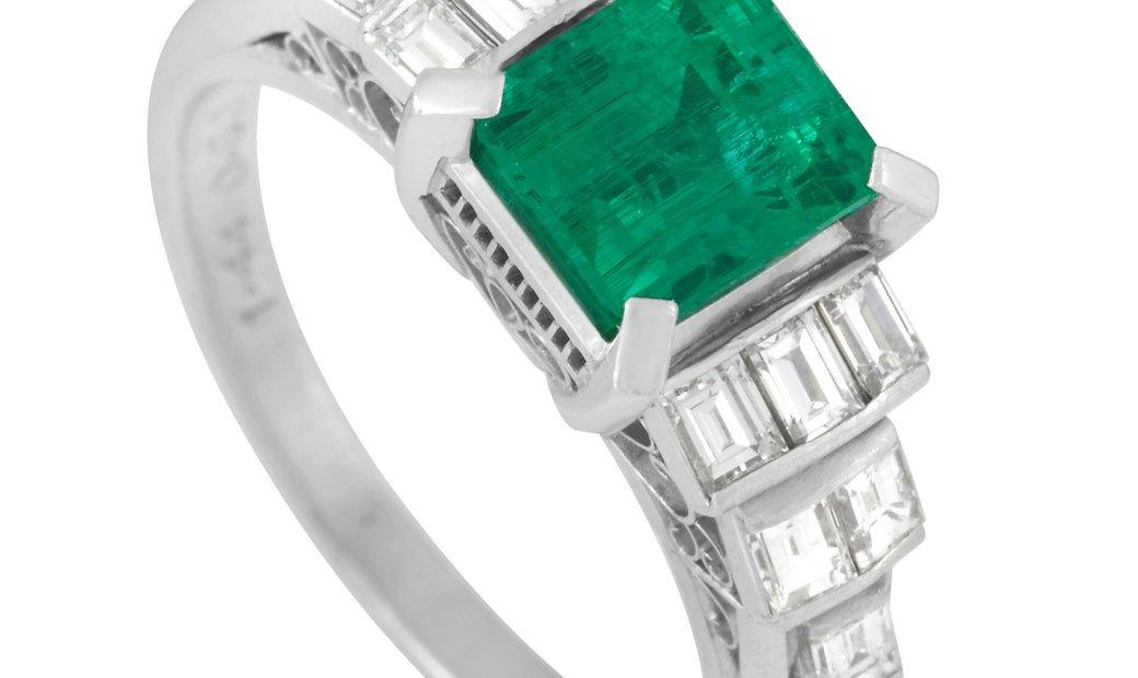 LB Exclusive LB Exclusive Platinum 0.60 ct Diamond and 1.44 ct Emerald Ring