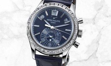 Patek Philippe Complications 5961P-001 Chronograph Annual Calendar Platinum Diamond Bezel Blue Dial