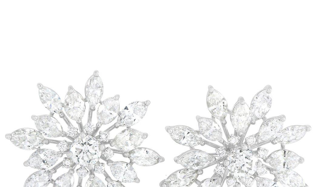 LB Exclusive LB Exclusive 18K White Gold 13.90 ct Diamond Earrings