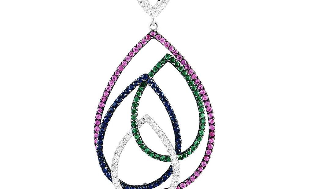 LB Exclusive LB Exclusive 18K White Gold 1.12 ct Diamond and Sapphire Pendant Necklace
