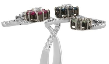 LB Exclusive LB Exclusive 18K White Gold 1.37 ct Diamond and 2.31 ct Sapphire Flower Ring