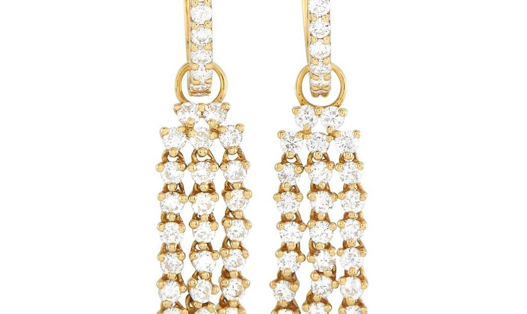 LB Exclusive LB Exclusive 18K Yellow Gold 1.81 ct Diamond Hoop Drop Earrings