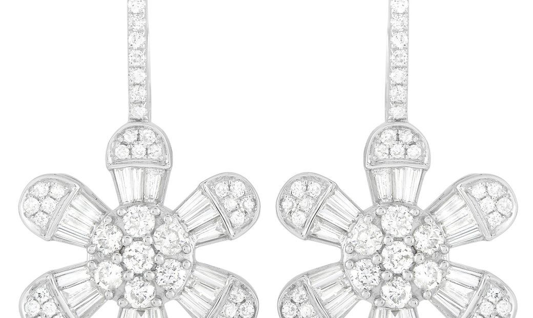 LB Exclusive LB Exclusive 14K White Gold 3.50 ct Diamond Earrings