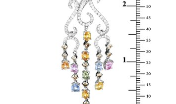 LB Exclusive LB Exclusive 18K White Gold 2.95 ct Diamond and Sapphire Dangle Earrings