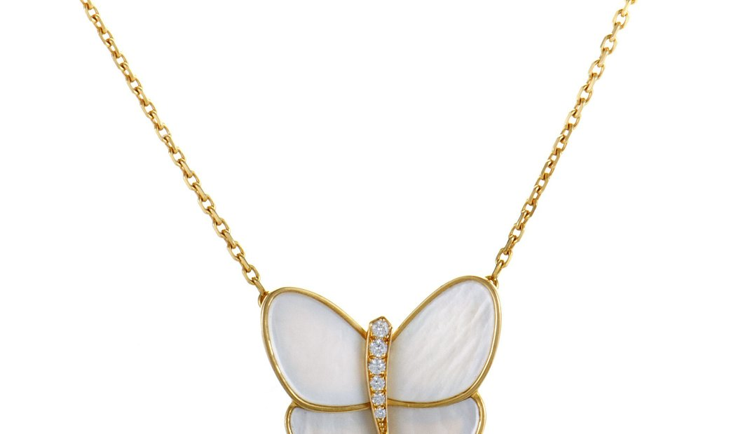 Non Branded Van Cleef & Arpels 18K Yellow Gold Diamond and Mother of Pearl Butterfly Necklace