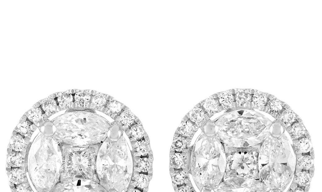 LB Exclusive LB Exclusive 14K White Gold 1.85 ct Diamond Round Earrings