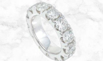 5.50 CT Brilliant Cut Diamond Eternity Ring 14K White Gold