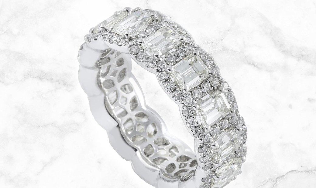 5.49 CT Diamond Eternity Band 18K White Gold