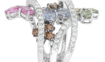 LB Exclusive LB Exclusive 18K White Gold 1.08 ct Diamond and 3.55 ct Sapphire Flower Ring