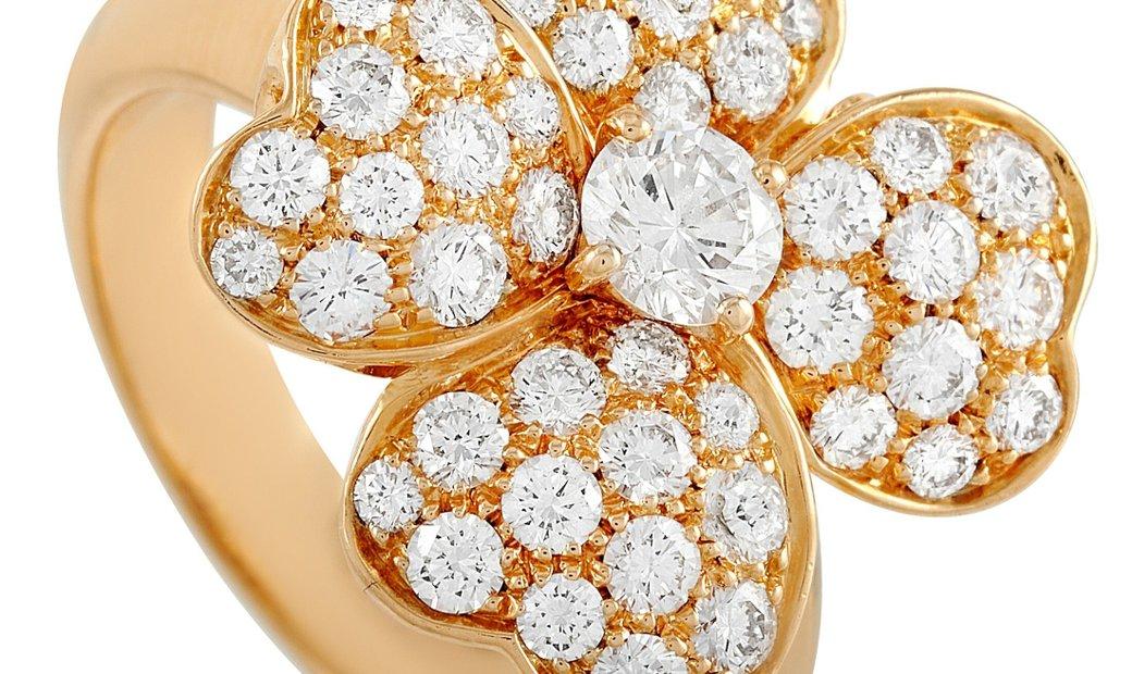 Van Cleef & Arpels Van Cleef & Arpels Cosmos Medium 18K Yellow Gold 1.57 ct Diamond Flower Ring