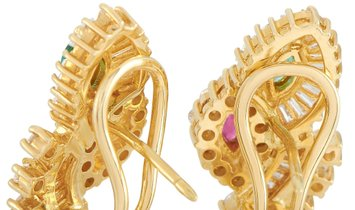LB Exclusive LB Exclusive 18K Yellow Gold 1.50 ct Diamond, Ruby and Emerald Earrings