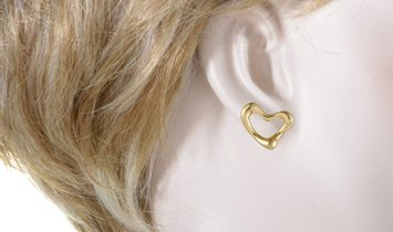 Tiffany & Co. Tiffany & Co. Elsa Peretti 18K Yellow Gold Open Heart Earrings