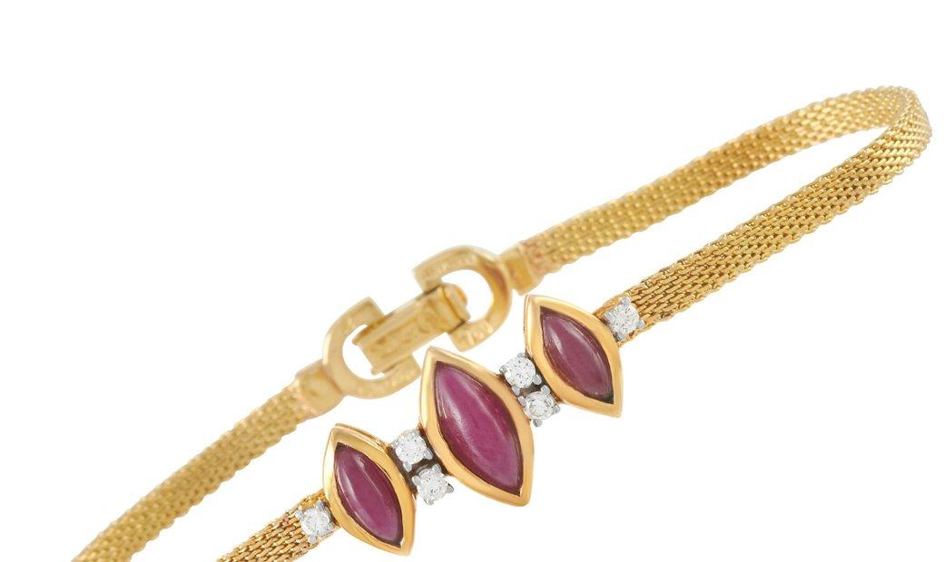 Dior Dior 18K Yellow Gold Diamond and Ruby Bracelet