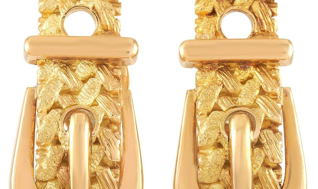 Hermès Hermès 18K Yellow Gold Textured Buckle Clip-On Earrings