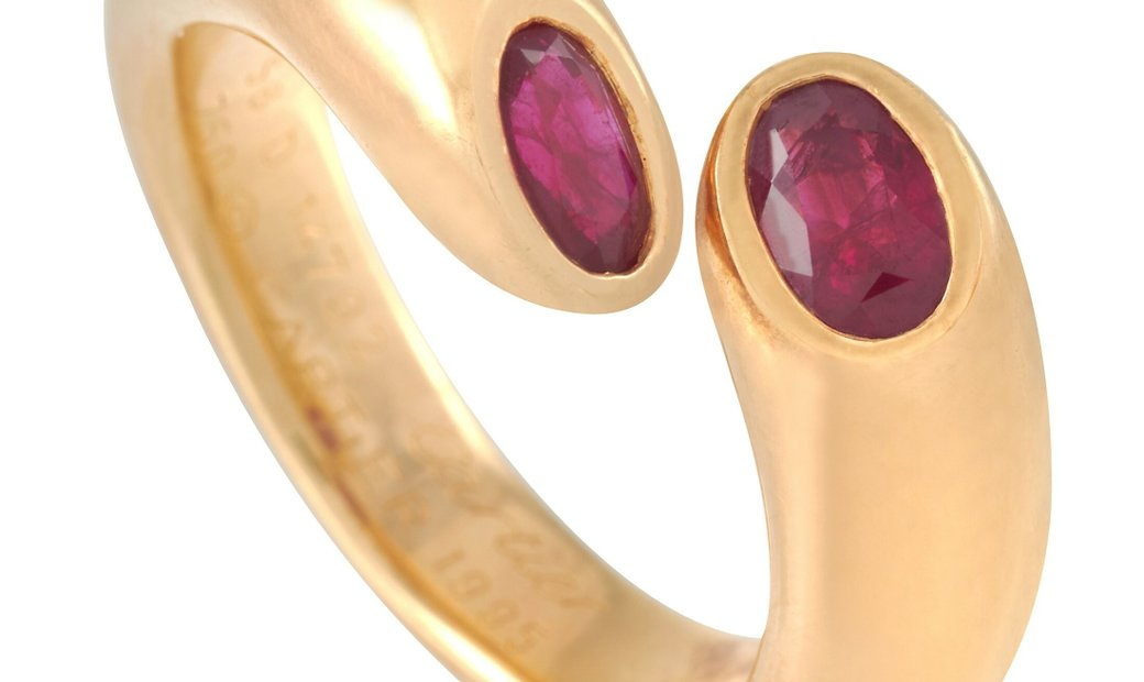 Cartier Cartier Ellipse Deux Tetes Croisees 18K Yellow Gold Ruby Bypass Ring
