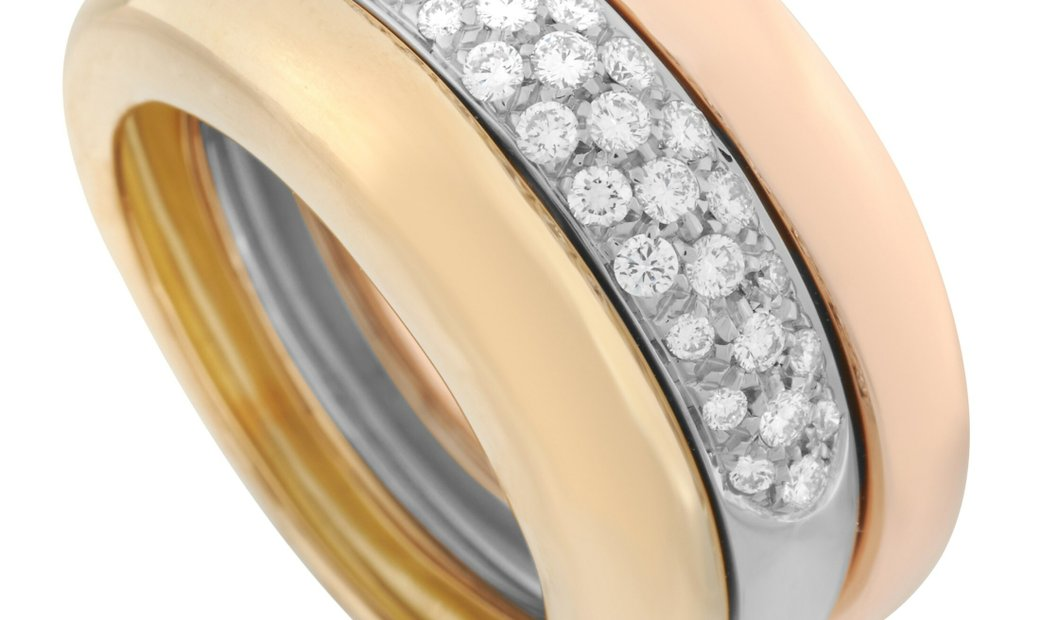 Cartier Cartier 18K Tricolor Gold Stack 0.50 ct Diamond Ring
