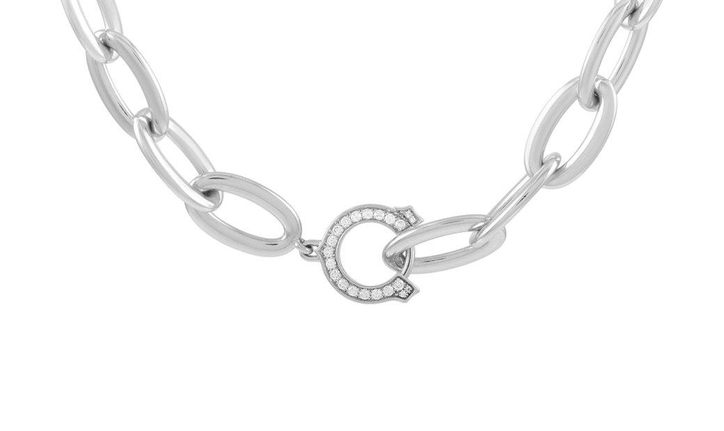 Cartier Cartier 18K White Gold Diamond Chain Link Necklace