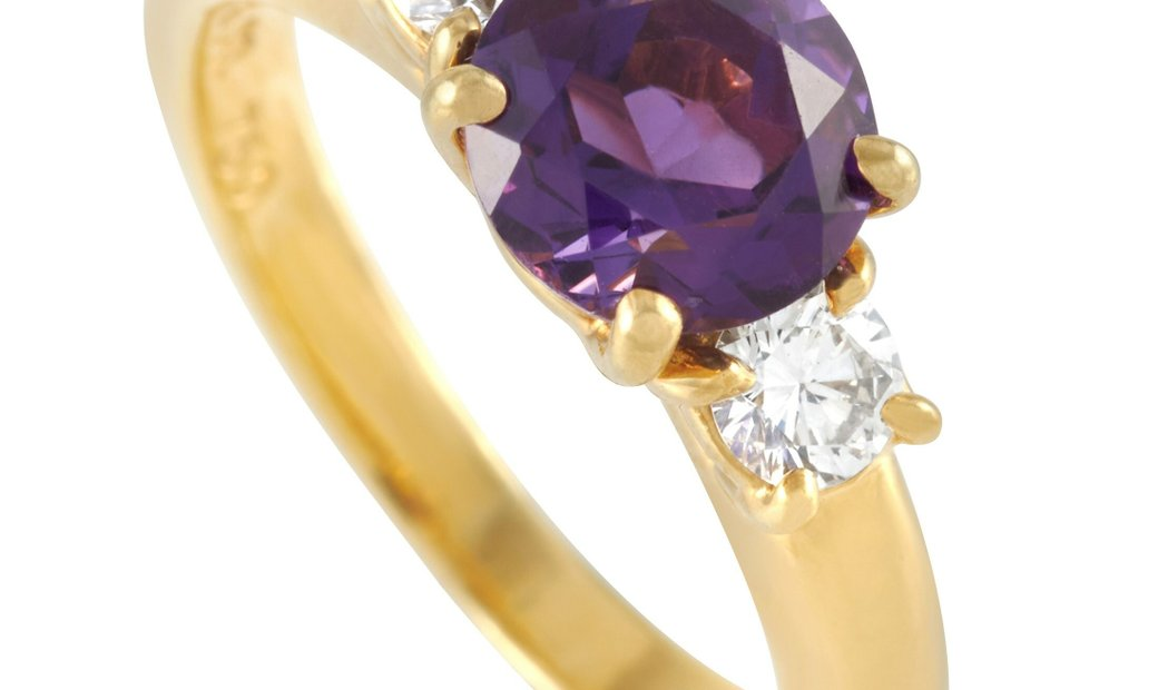 Tiffany & Co. Tiffany & Co. 18K Yellow Gold 0.35 ct Diamond and Amethyst Ring