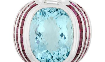 LB Exclusive LB Exclusive 18K White Gold 0.30 ct Diamond, Aquamarine and Ruby Ring
