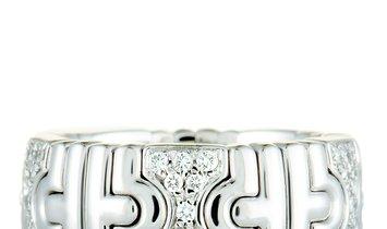 Bvlgari Bvlgari Parentesi 18K White Gold Diamond Band Ring