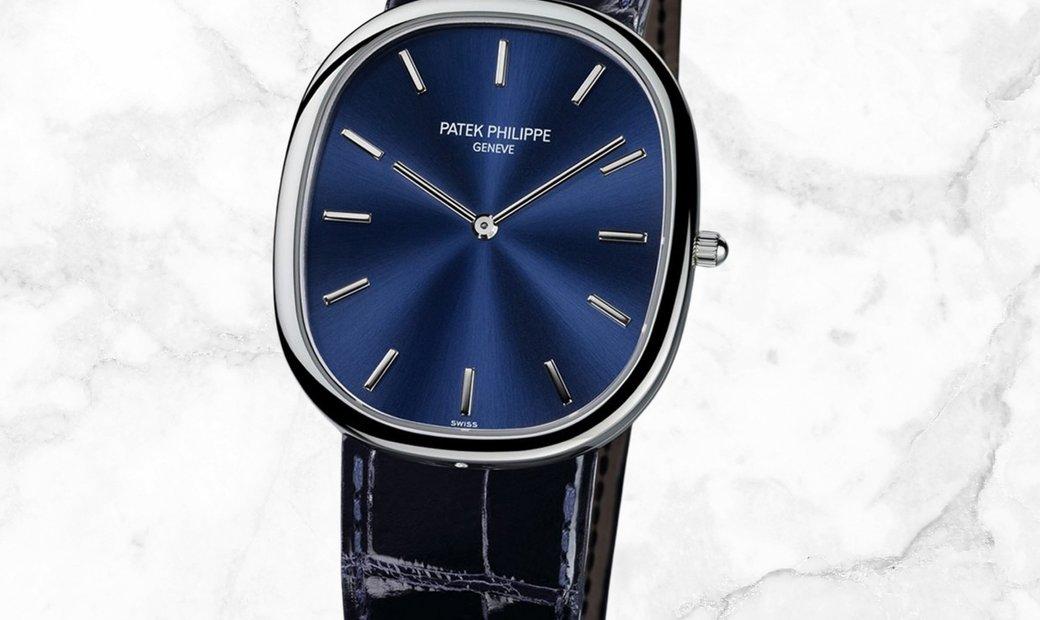 Patek Philippe Golden Ellipse 5738P-001 Platinum with Blue Gold Sunburst dial
