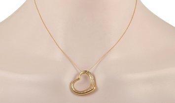 Tiffany & Co. Tiffany & Co. Elsa Peretti 18K Yellow Gold 0.75 ct Diamond Heart Pendant Necklace