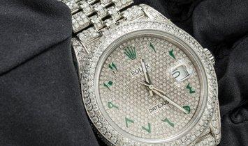 Rolex DateJust 126300 Diamond-Set Bespoke Green Arabic Numerals Stainless Steel