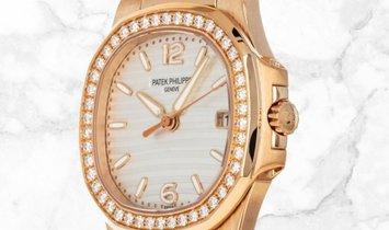 Patek Philippe Nautilus 7010/1R-011 Quartz Rose Gold Silvery Opaline Diamond Set