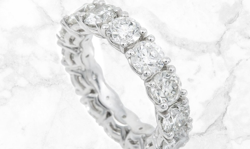 7.03 CT Brilliant Cut Diamond Eternity Band Set in Platinum