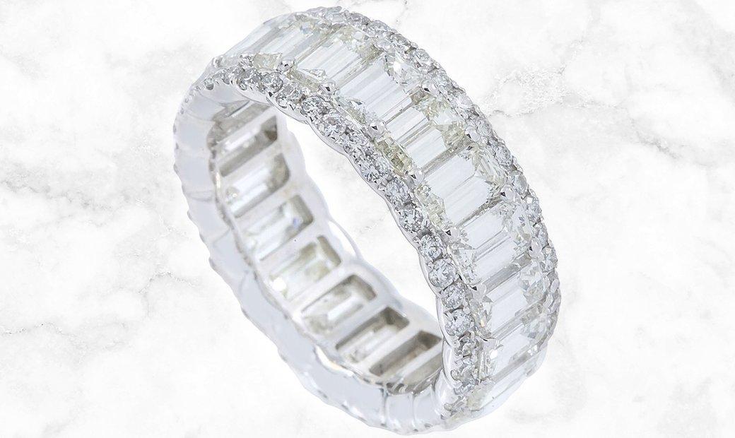 6.25 CT Diamond Eternity Band Set in 18K White Gold