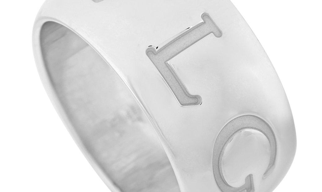Bvlgari Bvlgari 18K White Gold Monologo Ring