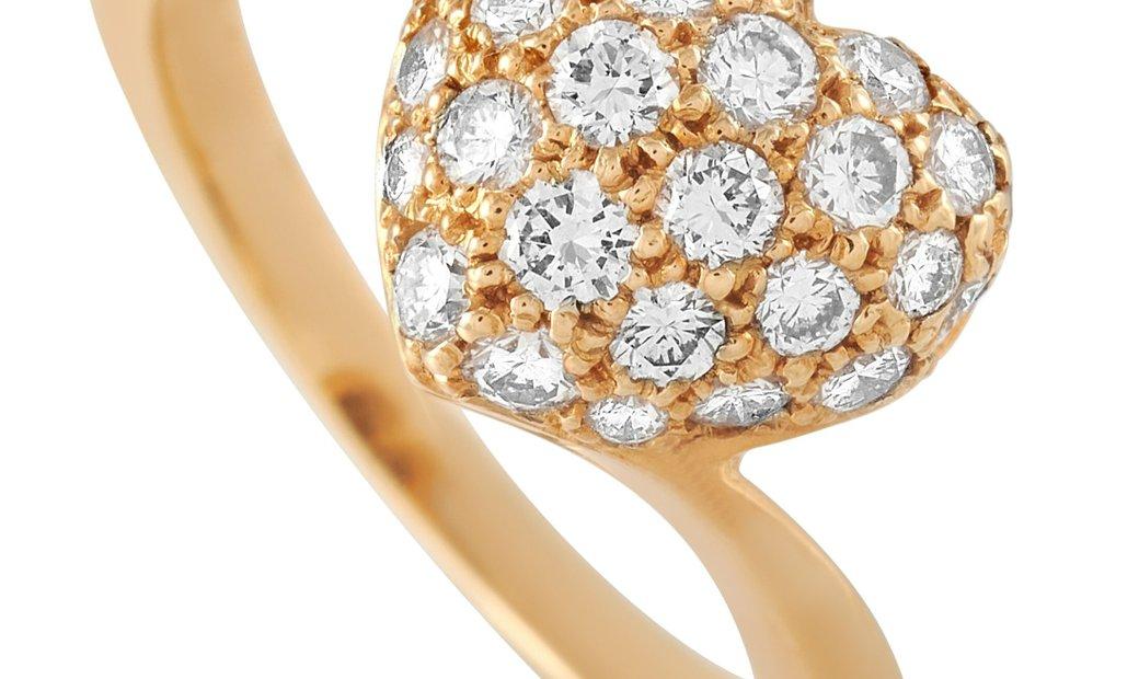 Cartier Cartier 18K Yellow Gold 0.60 ct Diamond Pave Heart Ring