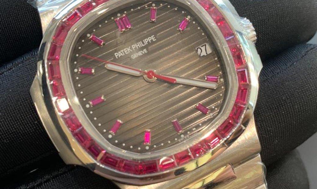 Patek Philippe Nautilus 5711/112P -001 Platinum and Ruby Set Bezel and Hour Markers