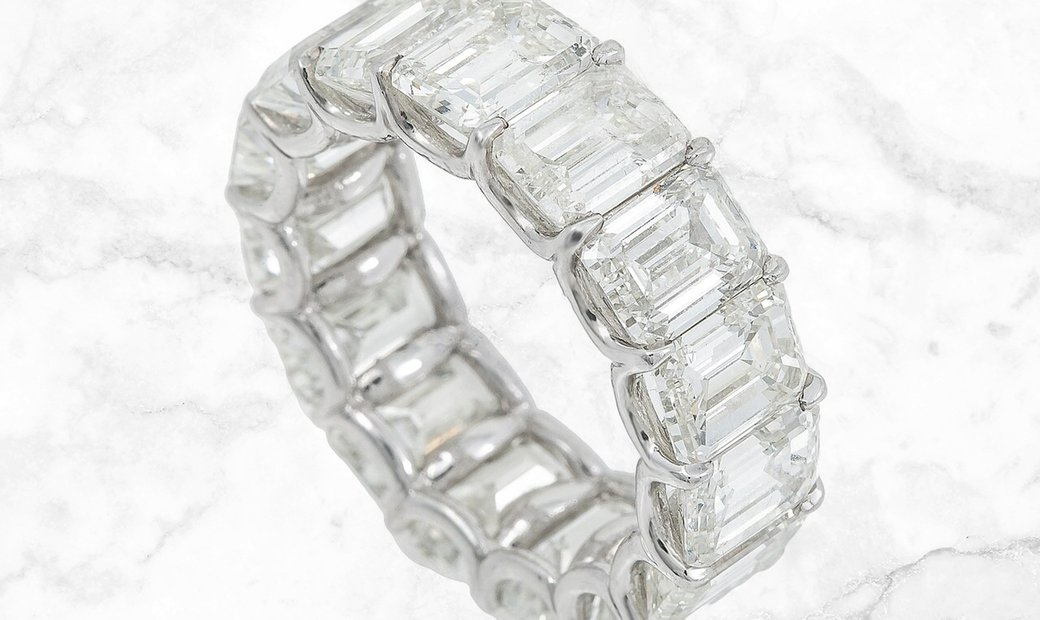 15.30 CT Emerald-Cut Diamond Eternity Band Set in Platinum