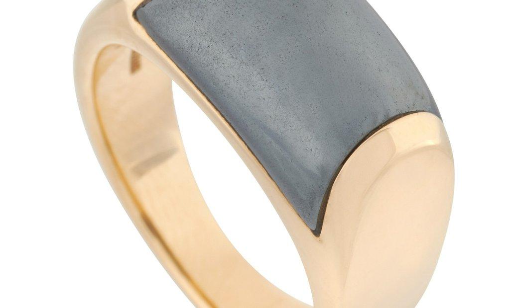 Bvlgari Bvlgari Tronchetto 18K Yellow Gold Hematite Ring