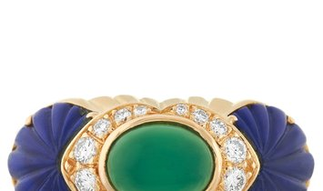 Cartier Cartier 18K Yellow Gold Diamond, Chrysoprase and Lapis Ring