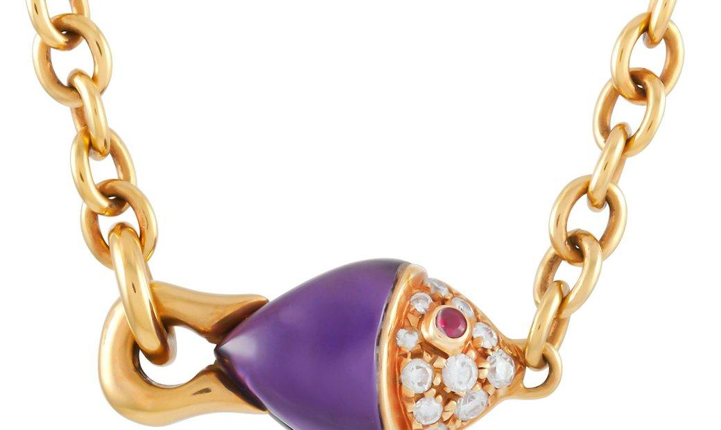 Bvlgari Bvlgari 18K Yellow Gold Diamond and Amethyst Fish Necklace