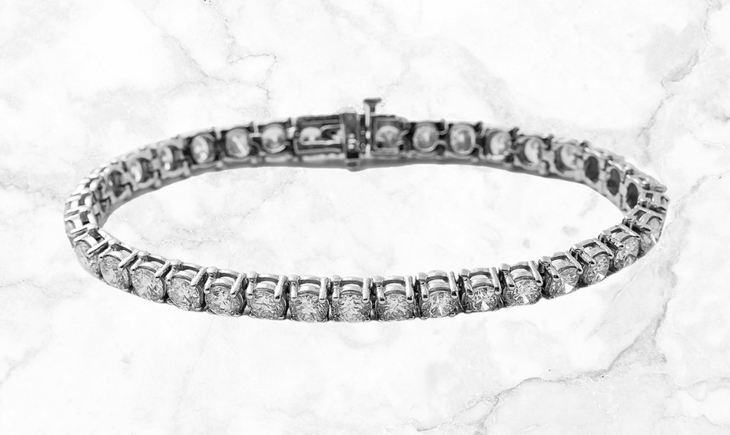 11.00 CT Round Cut Diamond Tennis Bracelet Set in 14k White Gold