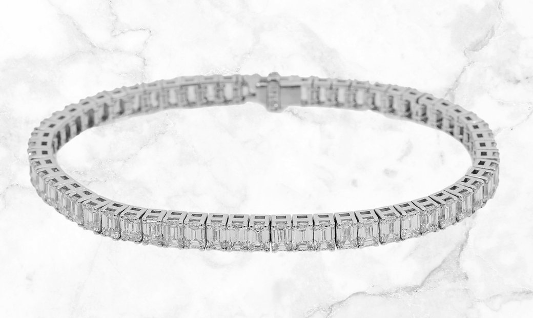 18.50 CT Emerald Cut Diamond Tennis Bracelet Set in 14k White Gold