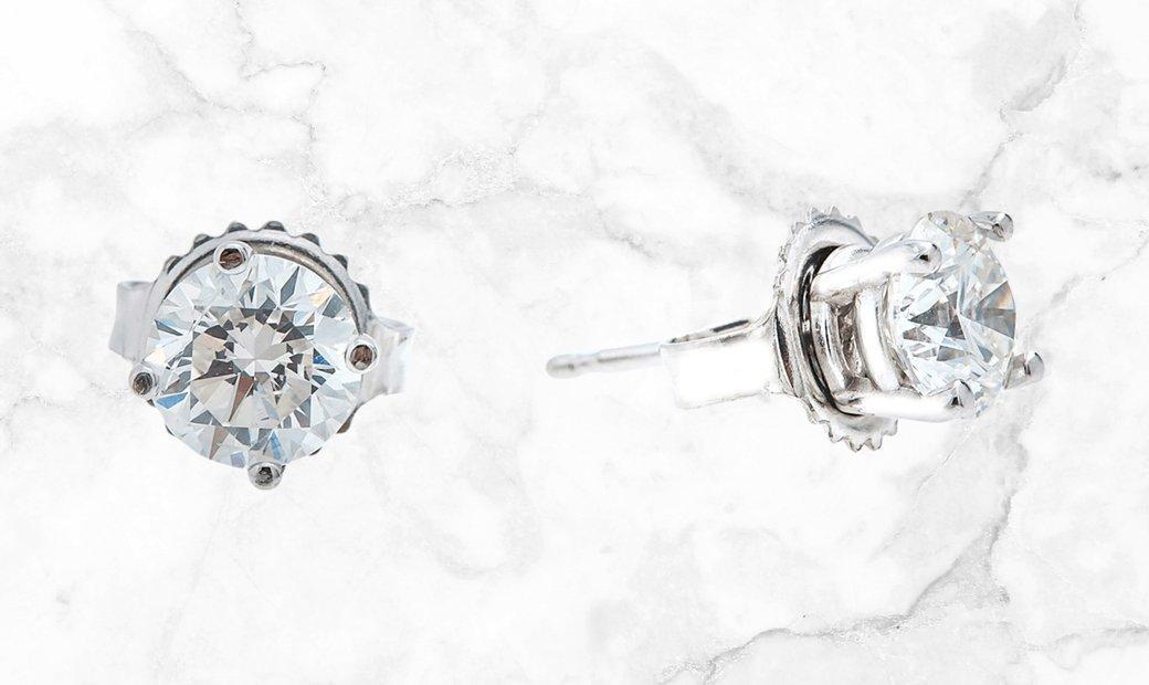 1.30 CT DIAMOND STUDS Set in 18K WHITE GOLD