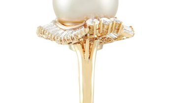 LB Exclusive LB Exclusive 18K Yellow Gold 2.13 ct Diamond and Pearl Ring
