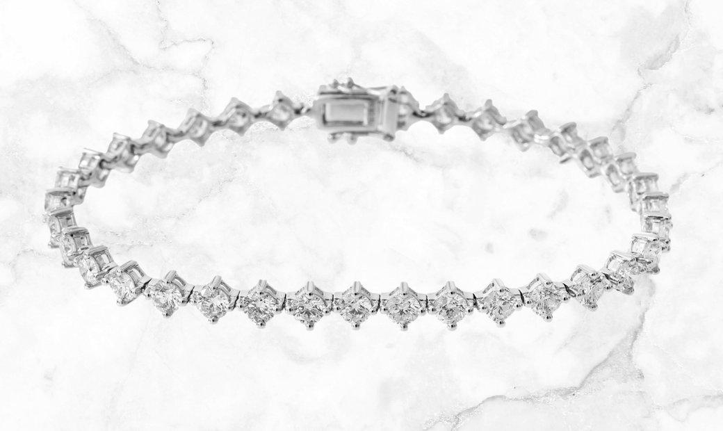 6.84 CT Diamond Tilted Tennis Bracelet Set in 18k White Gold
