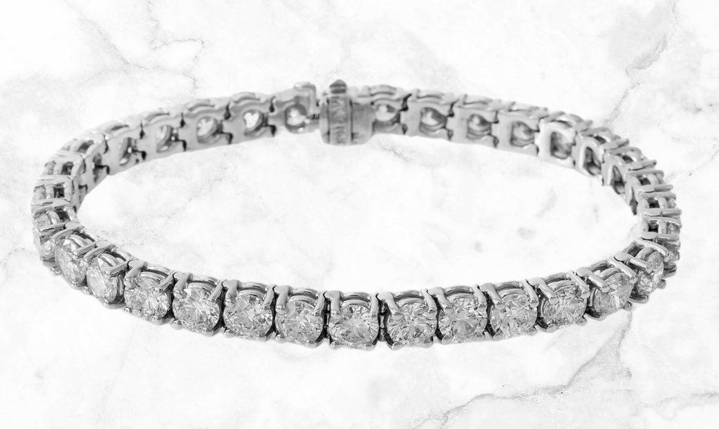17.34 CT Brilliant Cut Diamond Tennis Bracelet Set in 18k White Gold