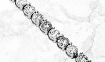10.92 CT Brilliant Cut Diamond Tennis Bracelet Set in 18k White Gold