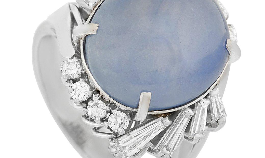 LB Exclusive LB Exclusive Platinum 0.69 ct Diamond and 16.02 ct Sapphire Ring